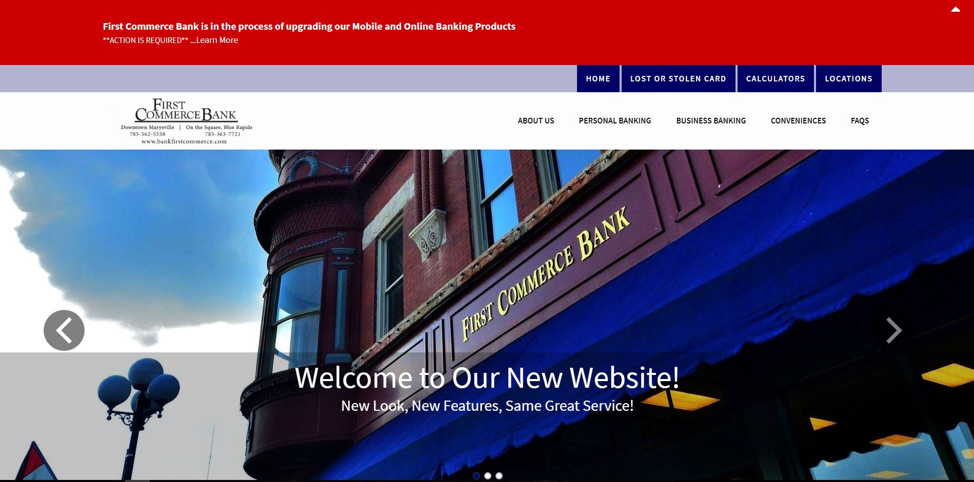 First Commerce Bank website home page